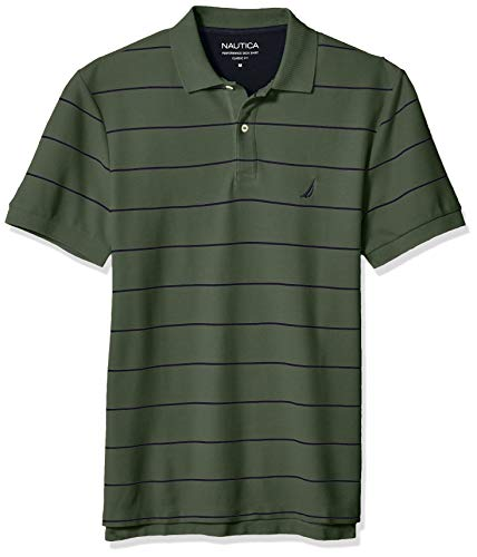Nautica Men's Stripe Deck Anchor Polo, Pine Forest, X-Large