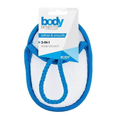 Body Image Body Benefits 2-in-1 Lathering Soap Pouch and Loofah Body Buff (Color May Vary). Perfect For Shower Or Bath.