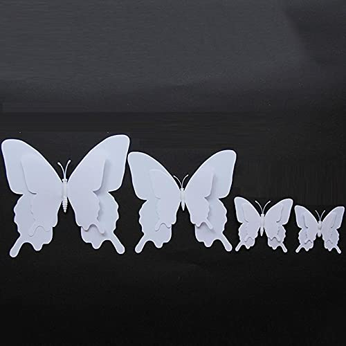 LZHLMCL Vinilos Decorativos De Pared 100 Unids Doble Capa Tridimensional Mariposa Blanca...