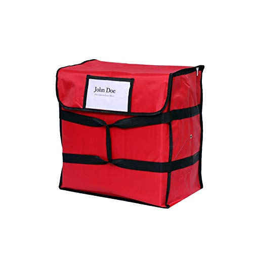 Nylon Insulated Pizza Delivery Bag - Food Delivery Bag Size 20 X 20 X 12 for Five 16 Pizza Boxes  Color red
