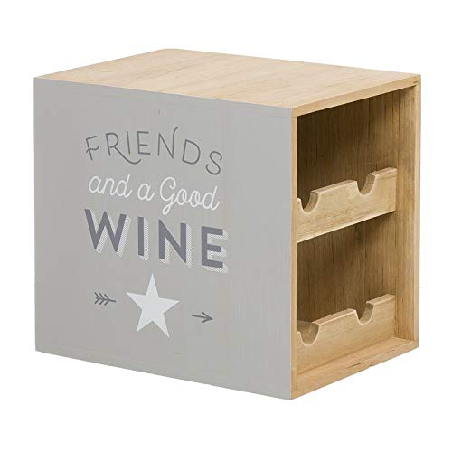 Home Gadgets Botellero Botellas Vino Mueble Soporte Madera Bistro 27 cm
