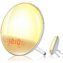 Smart Wake Up Light, Erauh Sunrise Alarm Clock Compatible with Alexa/Google, 7 Colors Sunrise Simulation and Sunset Fading, 4 Alarms/FM Radio/ Snooze Night Light for Kids Adults Bedroom (WiFi)