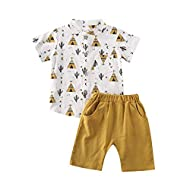 Toddler Kid Baby Boys White Short Sleeve T-Shirt Top Cotton Linen Shorts 2Pcs Summer Outfit (18-24M, Cactus-Yellow)