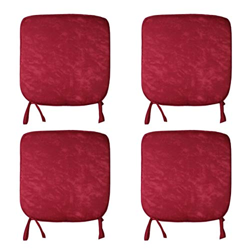 CB CASABELLA 4 Removable Elegant Chair Pads Seat Pads for Home Dining Room Kitchen Office Garden Patio 38X38 Cm Marble Red Chairpads Seatpads With ties