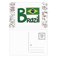 ブラジル国旗の緑のパターン 公式ポストカードセットサンクスカード郵送側20個