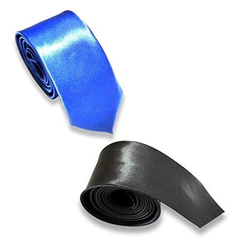 REYOK 2 pcs Corbata Estrecha 5cm para Hombres fina Original para Negocios, fiestas o Bodas, Negra Azul