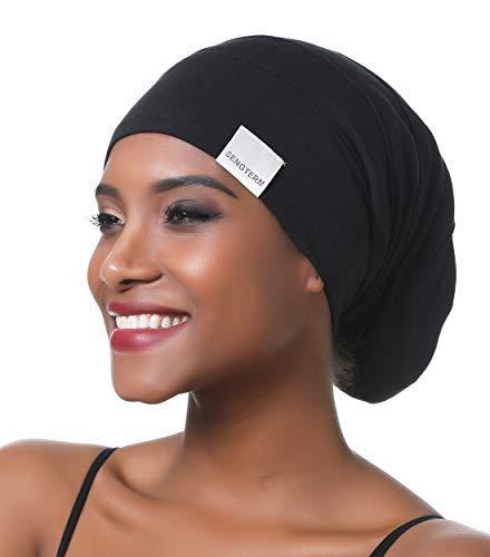 Dames casquette de cheveux en satin réglable casquette endormie doublure en soie bonnet de nuit bonnet souple bonnet en satin pour cheveux longs (L, black)