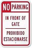 Wendana No Parking, In Front of Gate, Prohibido Estacionarse letrero divertido decorativo de yarda para exteriores Home Metal aluminio cartel de seguridad de pared 20,3 x 30,5 cm