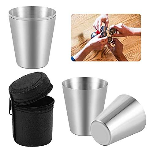 Traciya 4 vasos de acero inoxidable de 30 ml, apilables inastillables, vasos de metal irrompibles para beber, para el hogar, viajes, al aire libre, camping, lavavajillas