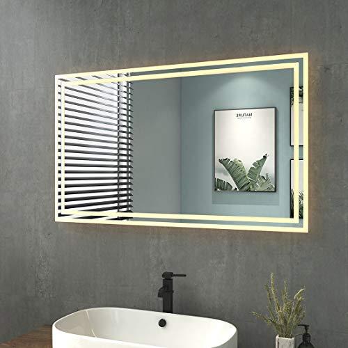 LED Badezimmerspiegel 100x60cm Badspiegel mit Beleuchtung Warmweissen Lichtspiegel Wandspiegel IP44 Energiesparend