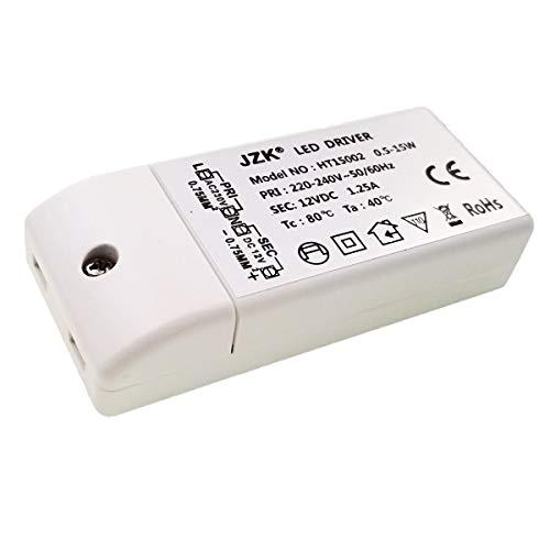 JZK LED transformador DC 12V 15W LED drive luz fuente transformador controlador de iluminación, entrada: 220-240V, salida: DC 12V 1.25A, 9.1×4.1×1.9 cm