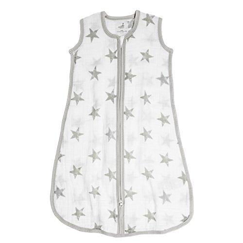aden + anais Aden Classic Sleeping Bag; 100% Cotton Muslin; Wearable Baby Blanket; Dusty - Stars, Medium, 6-12M