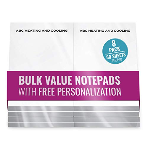 """Custom Note Pads – Free Personalization Memo Pads - Scratch Pads with a Name - Bulk Pack Value Writing Notepads Package of 8, 50 Sheets per Pad! (5"""" x 7"""" Without Ruled Lines)"""