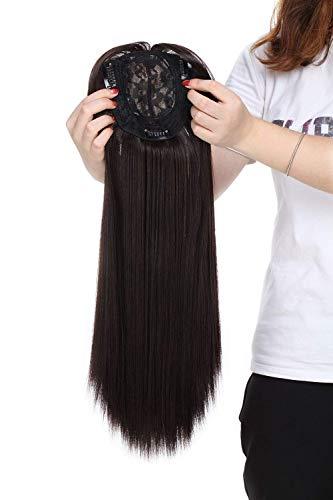 Toppers de cabelo castanho escuro para mulheres, extensões de peça única com clipe no topo, peça única de cabelo liso mono para cabelo fino 43 cm