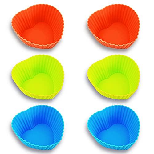 Molde Horno Silicona Para Repostería Individuales, Recipiente Silicona Reutilizable, Molde Magdalenas, Molde Cupcakes, Molde de Corazón