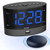 ANJANK Loud Dual Alarm Clock with Wireless Bed Shaker - Vibrating Alarm Clock for Heavy Sleepers, Deaf and Hearing Impaired, 0-100% Dimmer, Adjustable Alarm Volume, USB Charger Port