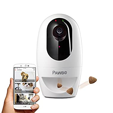 Pawbo Life Wi-Fi Pet Camera: 720p HD Video, 2-Way Audio, Video Recording, Treat Dispenser Laser Game