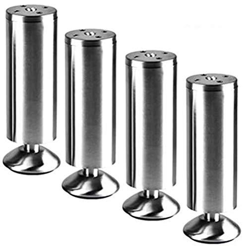 ZHPBHD Patas de los Muebles de Plata Ajustable Gabinete de baño Pies, 1000 kg Capacidad de Carga del súper Grande, de Acero Inoxidable, cilíndrico, 6cm-25cm (Color : 4pcs, Size : 8cm/3.2in)