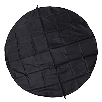 likeitwell Round Fire Pit Cover Waterproof Protective Weather Resistant Cover Garden Patio Outdoor Fire Bowl Cover with Drawstring, Black Welcoming Good-Looking by likeitwell
