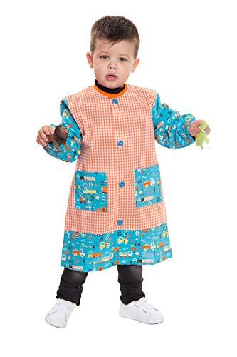Ardeco's - Bata Baby colegio con botones estampado Camiones (4)