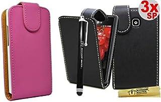 Accessory Master 5055403887630 - Funda de piel con diseño de flores para LG Optimus L3 E400, color negro y rosa