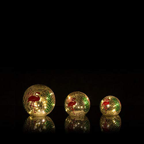 Online-Fuchs 3er Set Glaskugeln mit LED Lichterkette inkl. Timer - Deko Kugeln in Bruchglasoptik - LED Beleuchtung (Flamingo)