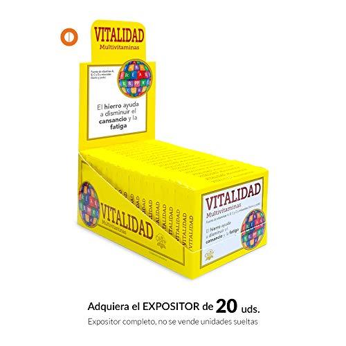 Vitaminas & minerales 15 comprimidos con vitamina C, hierro, vitamina E, vitamina A, vitamina D, yodo y vitaminas B-1, B-2, B-3, B-5, B-6, B-9 y B-12.