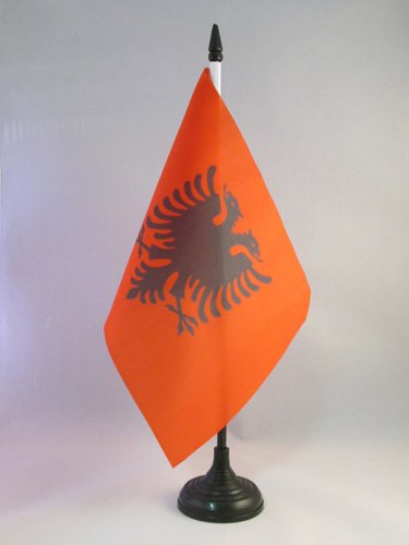 AZ FLAG Albania Table Flag 5'' x 8'' - Albanian Desk Flag 21 x 14 cm - Black Plastic Stick and Base