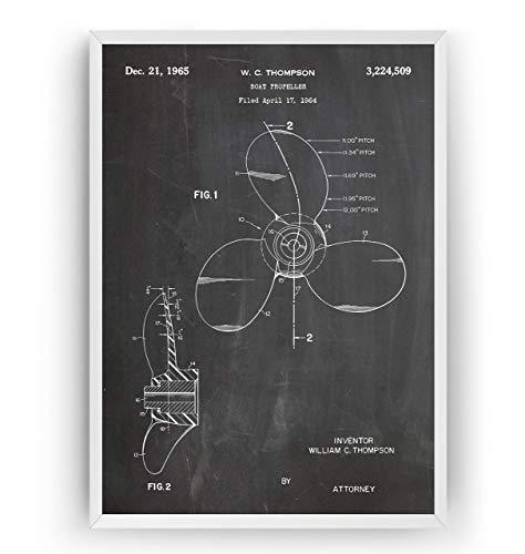 Bootspropeller 1964 Patent Poster - Nautical Boat Propeller Giclee Print Art Kunst Wall Nautisch Nautical Dekor Decor Entwurf Wandkunst Blueprint Geschenk Gift - Frame Not Included