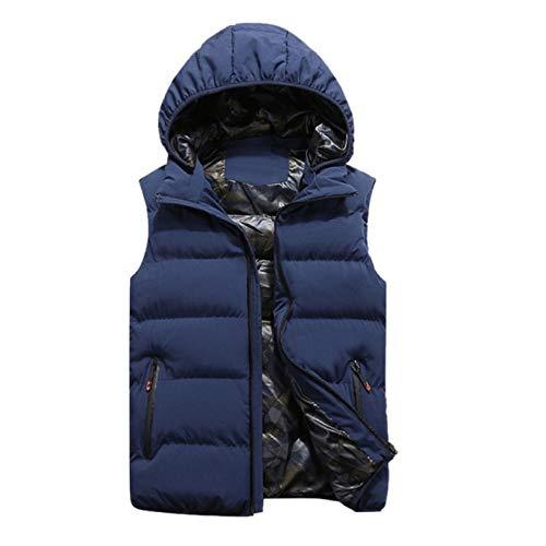 Vestes d'hiver Hommes Gilets À Capuche sans Manches Chaud en Coton Manteau Coupe-Vent Zipper Vest Poches Tops Plus La Taille L-5XL -Bleu_L