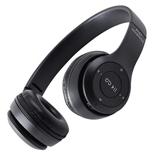 Dsqcai Nuevo Juego de Cartas Plegables Wireless 5.0 Auriculares Auriculares Bluetooth Auriculares Música Estéreo Casco Auriculares Juego Móvil,Negro
