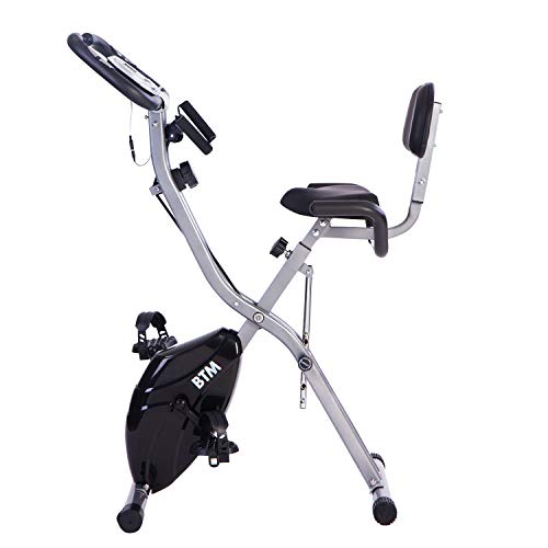 G500 Folding Cycling Exercise Bike Indoor Fitness Training X Bike Lightweight for Home Cardio Workout, with Flywheel and Arm Resistance Bands (Aqua Flywheel) (Black)
