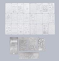 さびない鋼 ステンシル 5枚& PET ステンシル 図面 テンプレート 24枚 セット 塗り絵 製図 手帳 教育