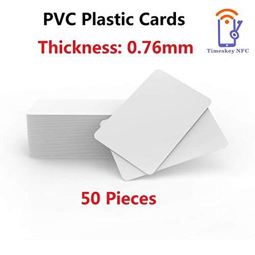 Timeskey 50 Stück Premium Plastikkarten/PVC Karten Weiss, Rohlinge, blanko Kompatibel Mit ID Karten Drucker