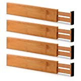 Bamboo Adjustable Drawer Dividers Organizers - Large Expandable Utensil Organizer Separators for Kitchen, Dresser, Bedroom, Baby Drawer, Bathroom & Office, Set of 4 (2.6 Tall, 17.5-22 Inch, Natural)