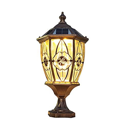 Le Poteau Extérieur Solaire Allume La Lampe Extérieure Imperméable De Colonne De Table, Lumière De Poteau De Pilier Actionnée Solaire Avec L'abat-jour En Verre Clair Pour Des Lampes De Colonne D'entré