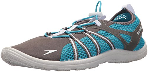 Speedo Women's Water Shoe Seaside Lace Up Athletic, dark gull grey/white, 5 Womens US