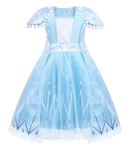 Jurebecia Traje de Princesa Vestido de niñas pequeñas Disfraz De Princesa para Niñas Traje de Fiesta de cumpleaños de Halloween Navidad Trajes de Cosplay Azul