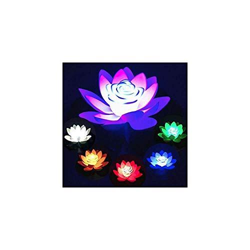 YuKeShop Luz de la noche decoración 6pc 18cm simulación artificial llevó Lotus flor noche luz flotante piscina lago decoración