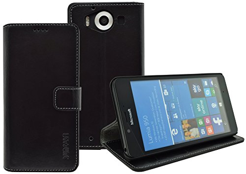 Suncase Book-Style (Slim-Fit) für Microsoft Lumia 950 / Lumia 950 Dual-Sim Ledertasche Leder Tasche Handytasche Schutzhülle Case Hülle (mit Standfunktion und Kartenfach) schwarz