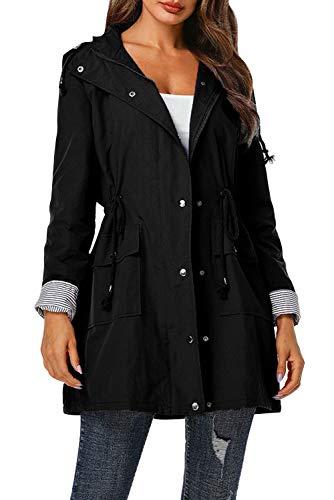 KOOSUFA Damen Regenjacke Tailliert Regenmantel Übergangsjacke Wasserdicht Leichte Windbreaker Regenschutzbekleidung (Schwarz, 42-44)