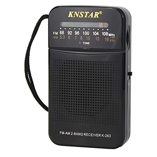 WFGZQ Radio FM/Am de Bolsillo portátil, Mini Radio de transistores, excelente recepción, Perilla de sintonización con indicador de señal, Compatible con baterías extraíbles