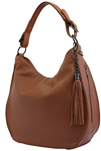 AmbraModa Italiensche Damenhandtasche Schultertasche Hobo Bag aus Echtleder GL026 (Cognac)