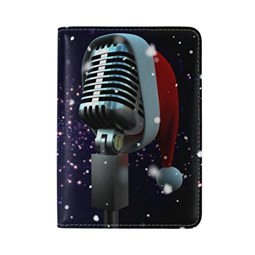 TIZORAX - Funda de piel para micrófono con gorro de Papá Noel
