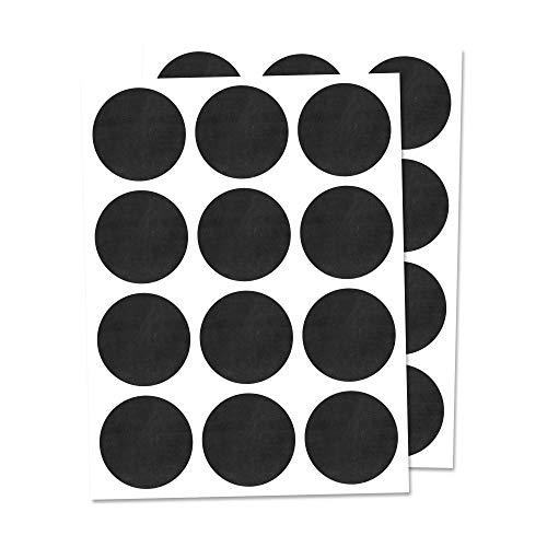 300 Piezas, 25mm Etiquetas de Pizarra Pegatinas Negra Botella Frasco, Reutilizable Borrable