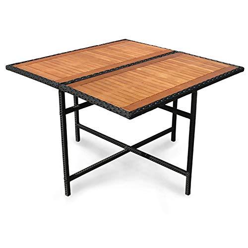 indoba Designer Gartentisch Polyrattan Eukalyptusholz - Vier Personen - Tisch Garten