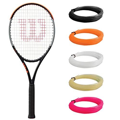 Wilson Burn 100ULS v4 Tennis Racquet (4 1/4' Grip Size) Strung with White Synthetic Gut Racket String - Best Racquet for Spin and Power