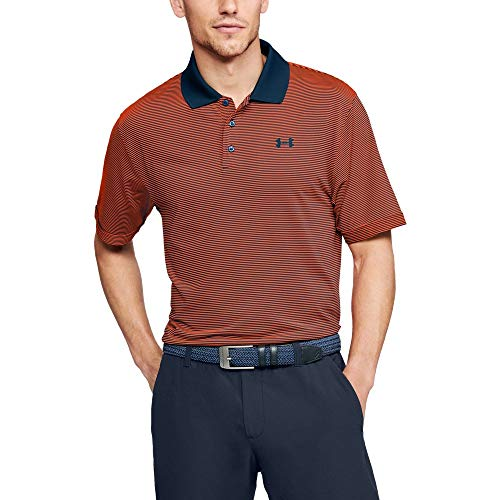Under Armour Mens Performance Patterned Polo Magma Orange 889Techno Teal Large