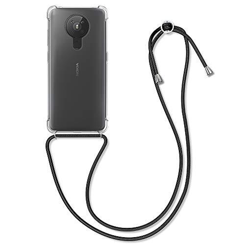 kwmobile Funda con Cuerda Compatible con Nokia 5.3 - Carcasa Transparente de TPU con Cuerda para Colgar en el Cuello