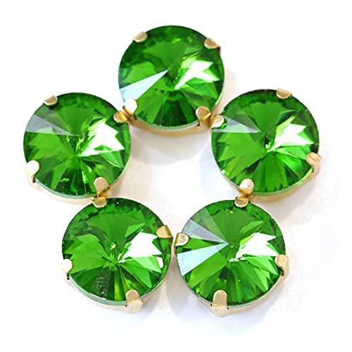 CHUNMA Muchos Colores Coser en Red Rhinestones Cristal Glass Coser en Rhinestones con Garra de Oro Ropa de Rhinestones Flow (Color : Emerald, Size : 14mm-20pcs)